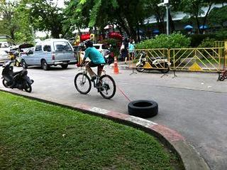 MTBでタイヤを引きずるトレーニング